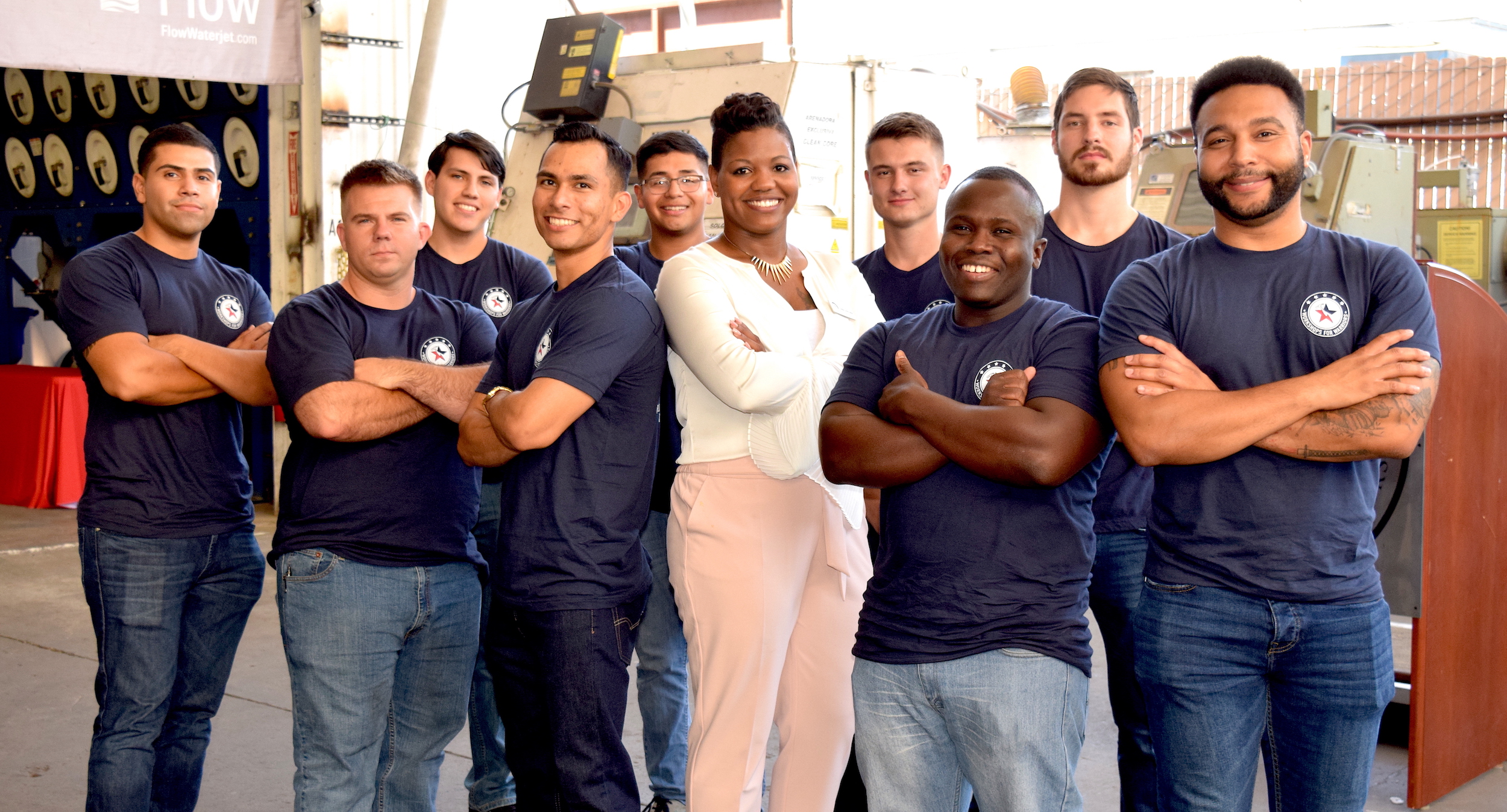 Group of veteran and active duty military students at Workshops for Warriors
