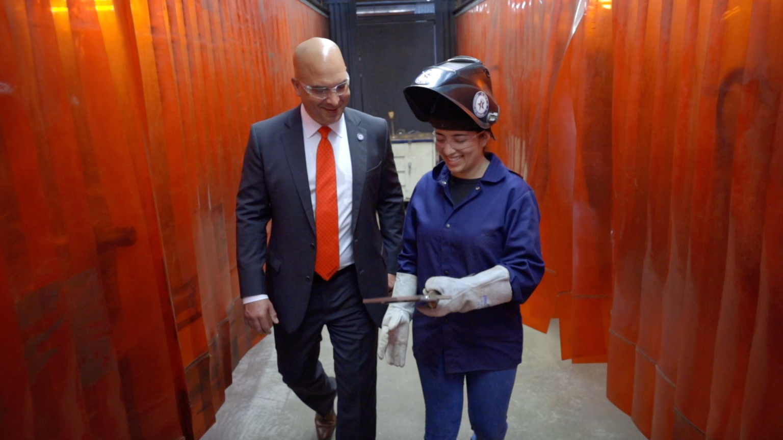 Workshops for Warriors Founder and CEO Hernán Luis y Prado with Welding Student