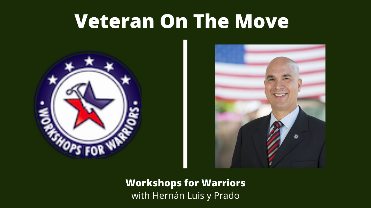 Workshops for Warriors Logo and Hernán Luis y Prado Headshot for Podcast Episode Cover